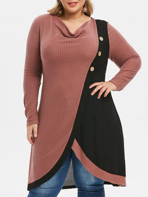 Plus Size Cowl Neck Two Tone Long Knitted Sweater - PINK 5X