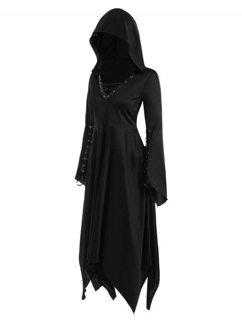Gothic Lace Up Hooded Handkerchief Dress - BLACK L