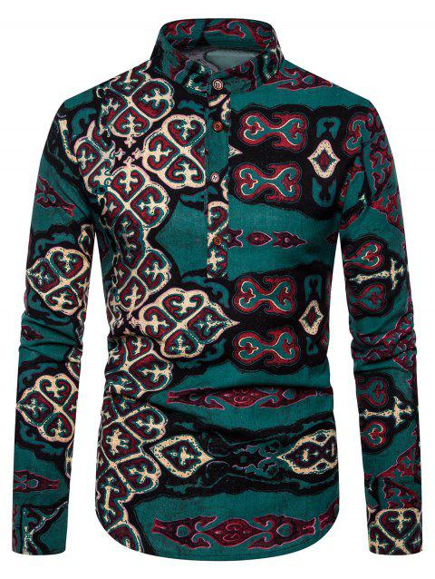 Half-button Stand Collar Print Long-sleeved Shirt - multicolor K 2XL