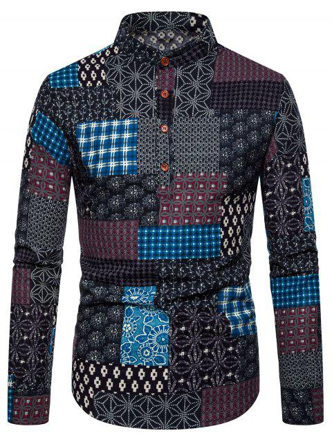 Glen Check Patchworks Print Long-sleeved Shirt - multicolor F 2XL