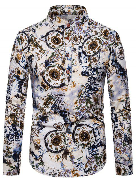 Ethnic Floral Printed Full Sleeves Shirt - multicolor B 2XL