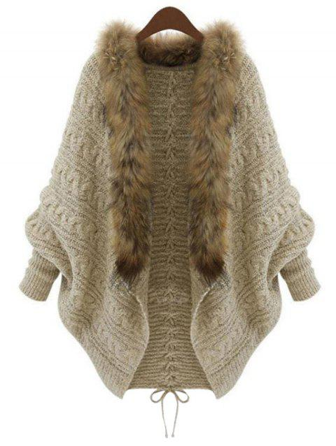 Cable Knit Faux Fur Collar Heathered Plus Size Cardigan - LIGHT KHAKI ONE SIZE