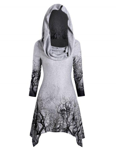 Halloween Tree Print Convertible Collar Asymmetrical Knitwear
