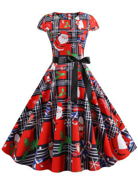 Christmas Plaid Santa Claus Gift Print Fit and Flare Dress - multicolor S