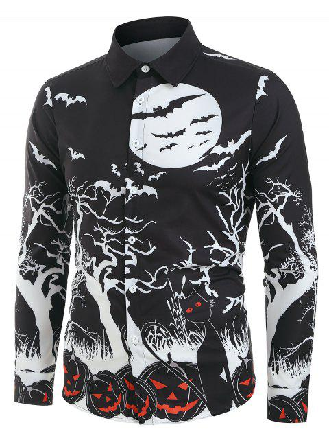 Halloween Night Pumpkins Print Button Up Long Sleeve Shirt - BLACK M