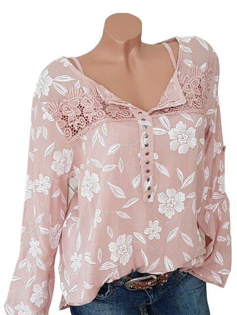 Lace Panel Floral Studded Plus Size Long Sleeve Blouse - SAKURA PINK 1X