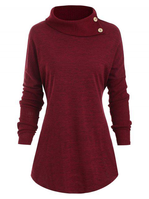 Buttons Turtleneck Heathered Curved Hem Tee - RED WINE 2XL