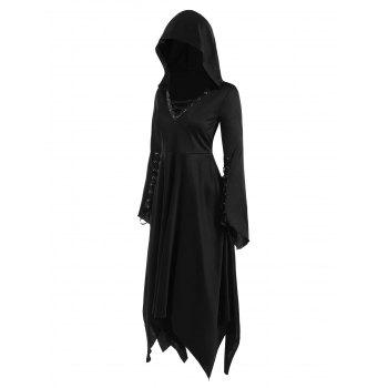 Gothic Lace Up Hooded Handkerchief Dress