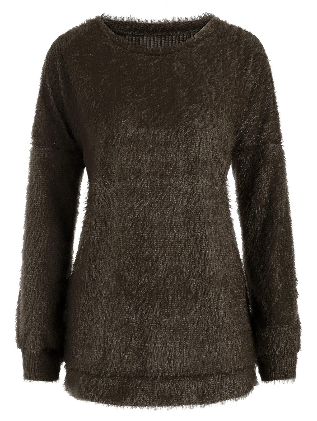 Fuzzy Knit Drop Shoulder Boyfriend Tunic Sweater - BROWN S