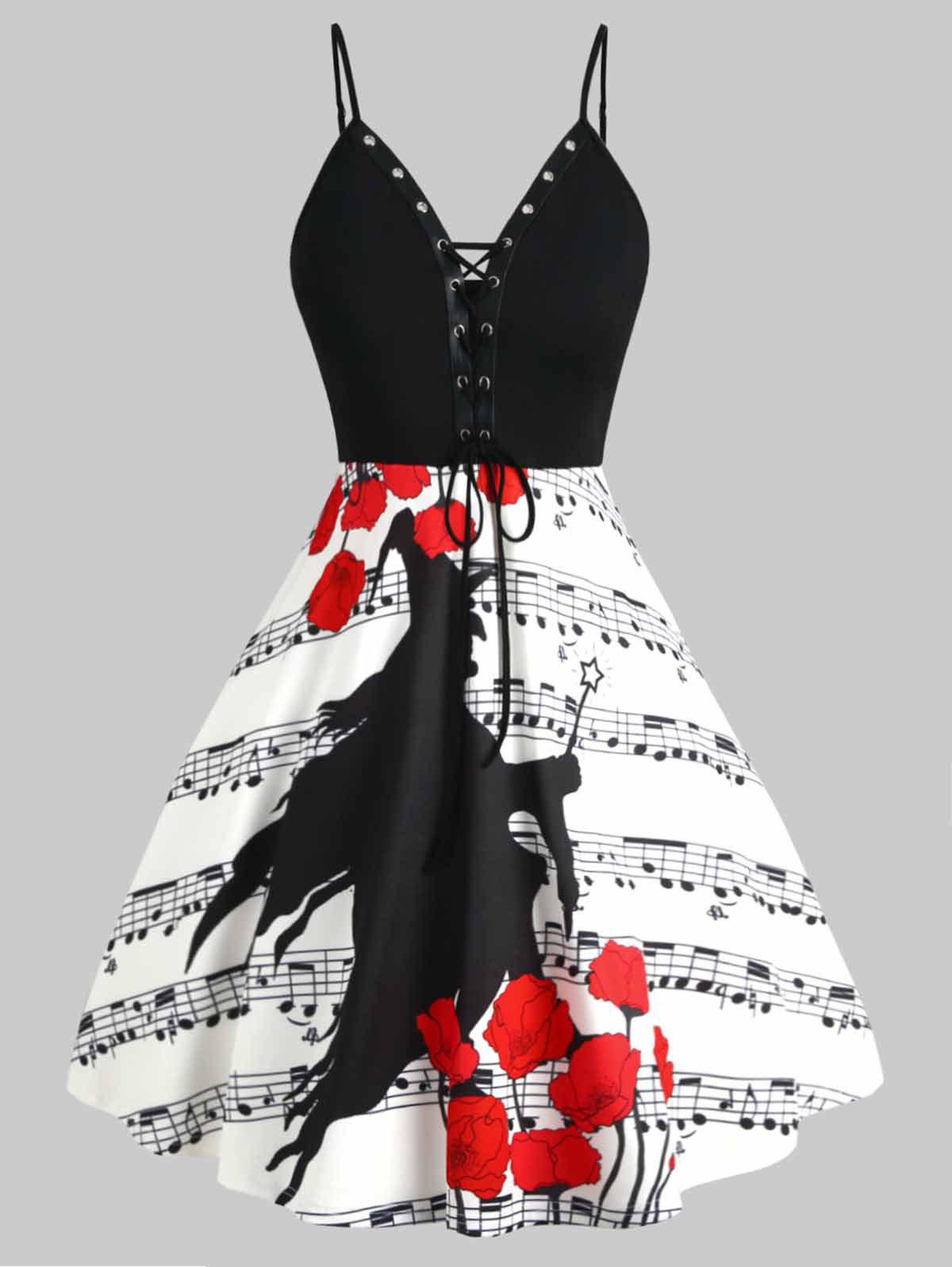 Lace-up Grommet Musical Note Witch Print Plus Size Halloween Dress - WHITE 5X
