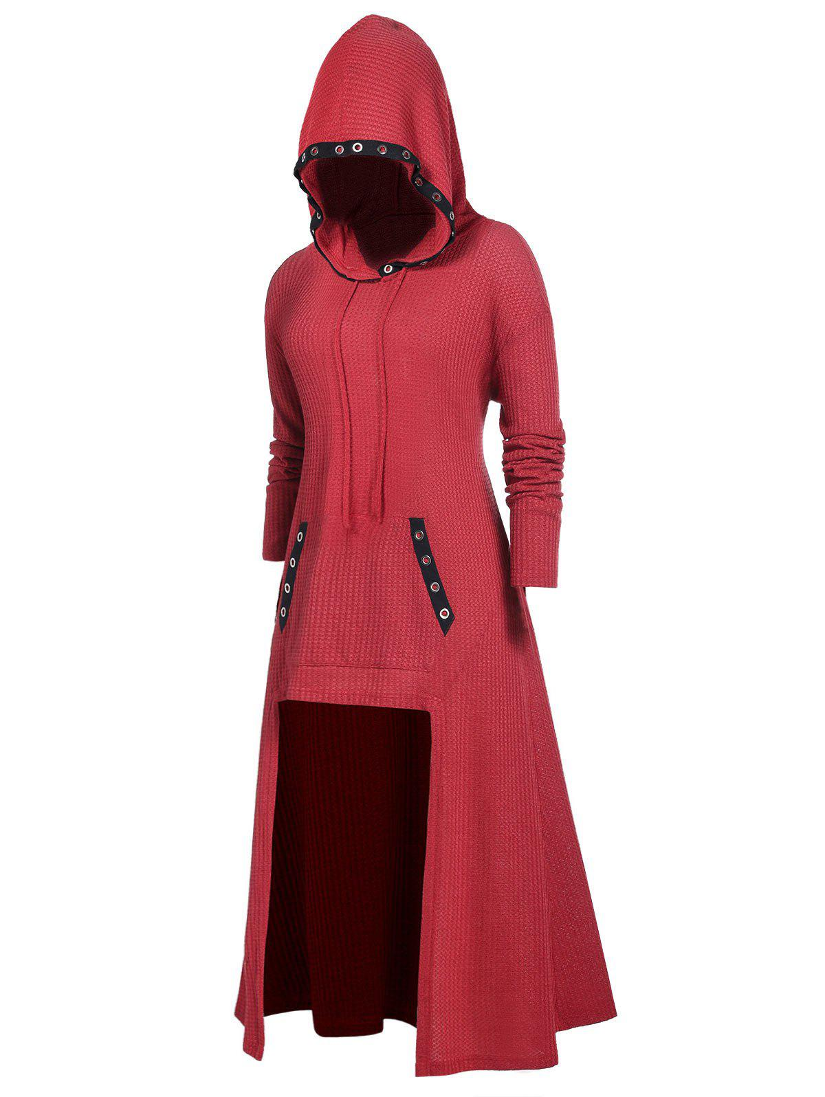 Plus Size Hooded Rings Longline Sweater - CHERRY RED L