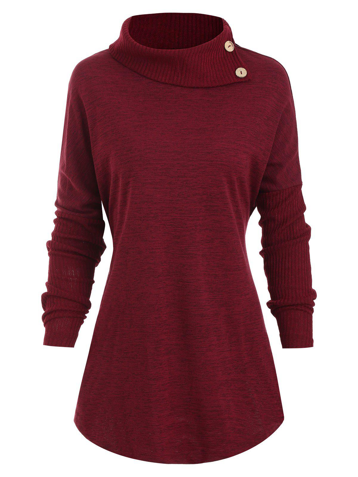 Buttons Turtleneck Heathered Curved Hem Tee - RED WINE M