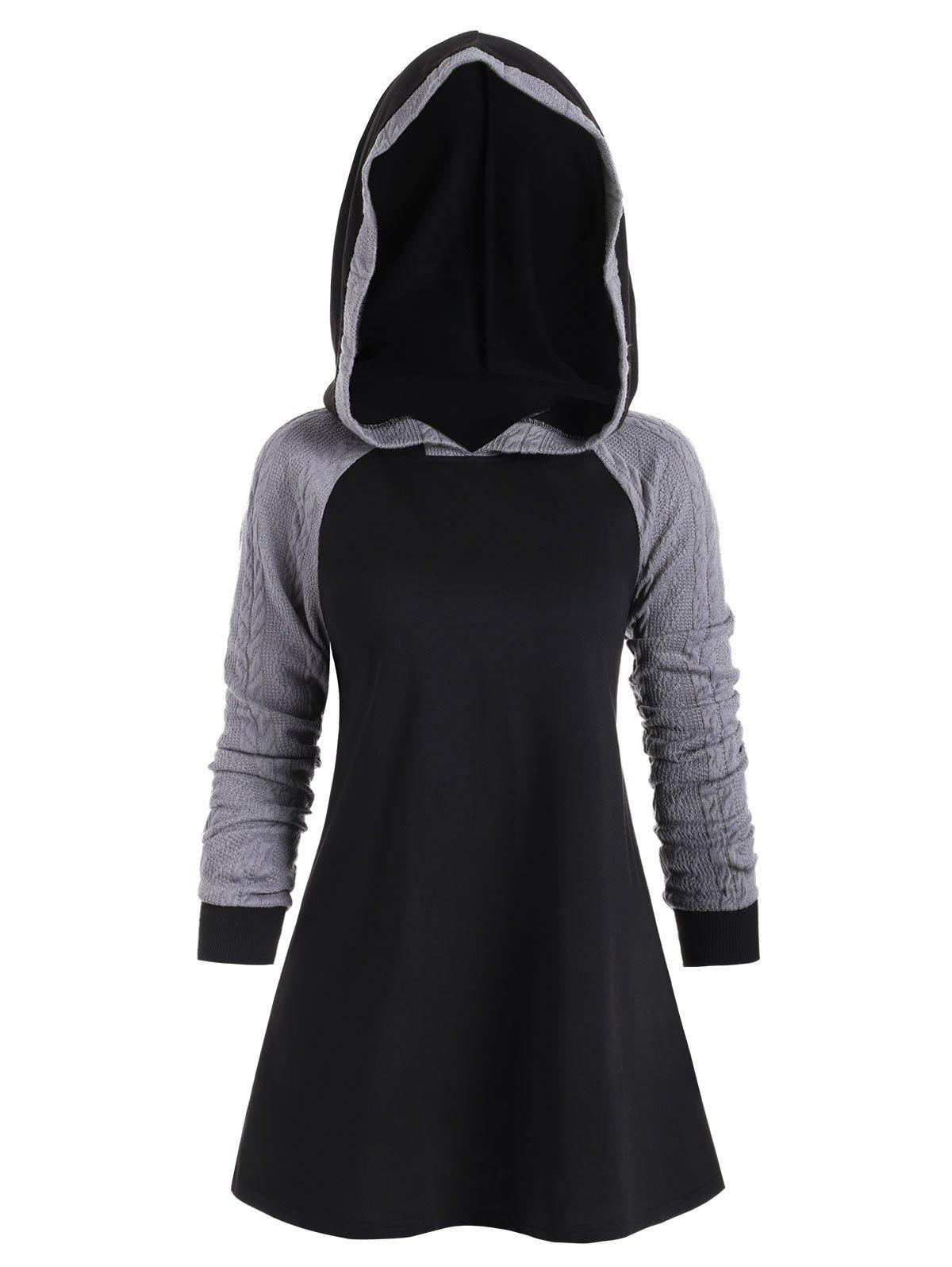 Color Block Raglan Sleeves Longline Hoodie