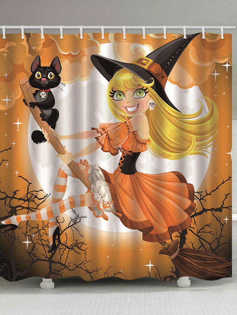 Halloween Witch Cat Pattern Shower Curtain