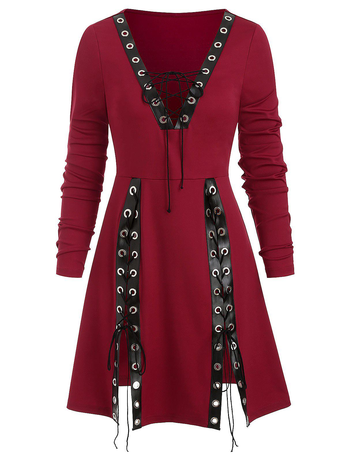 Lace Up Grommet Plunge Slit A Line Tunic Tee - RED WINE M