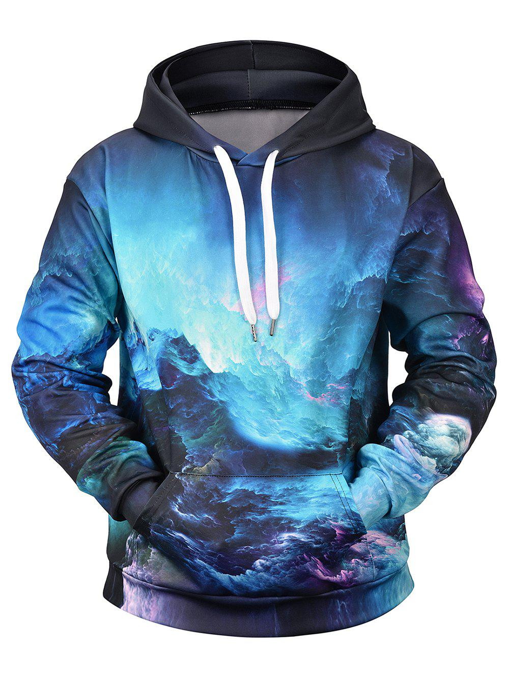 Abstract Painting Print Hoodie - BLUE L