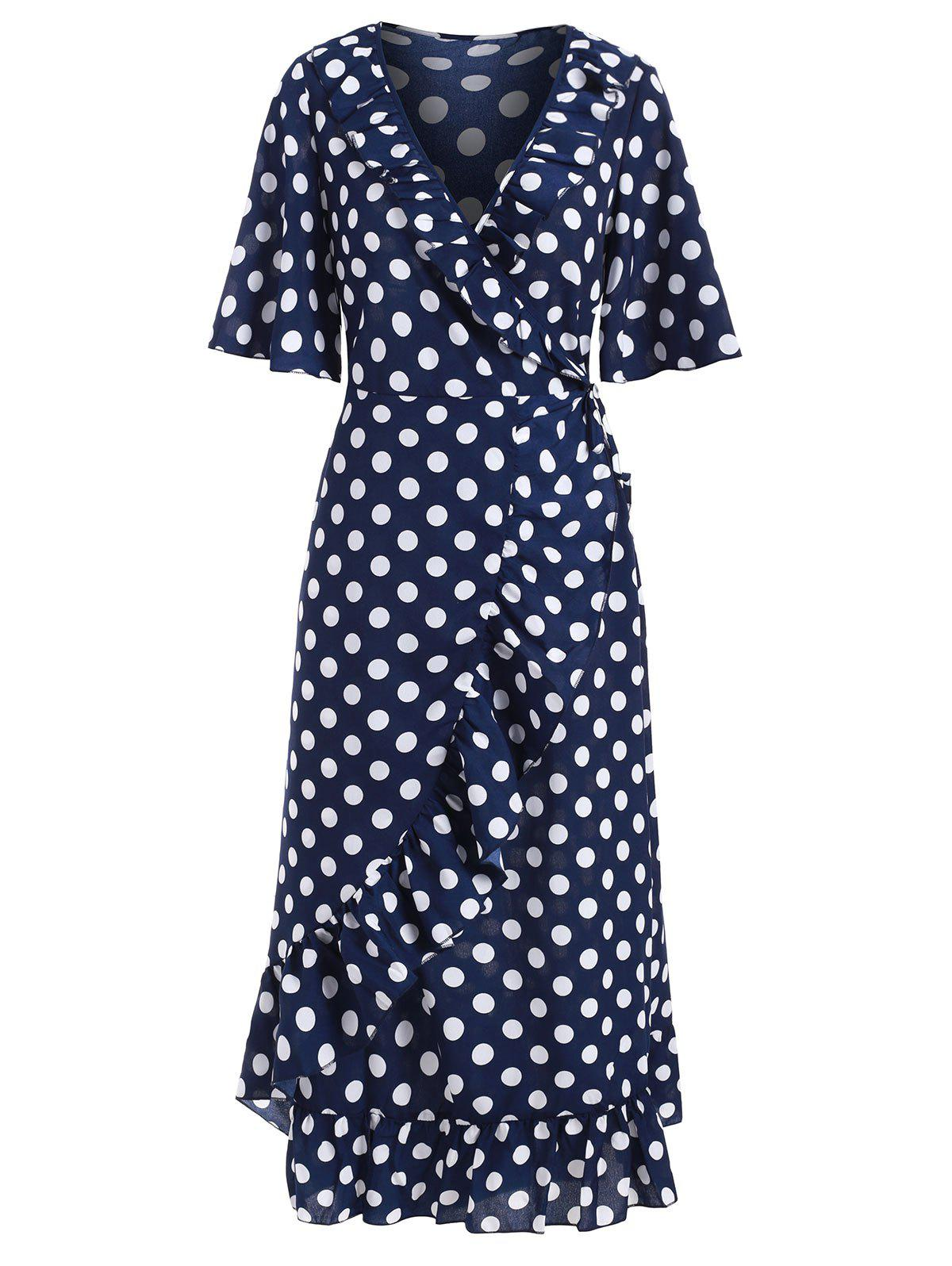 Ruffle Polka Dot Midi Wrap Dress - DEEP BLUE M