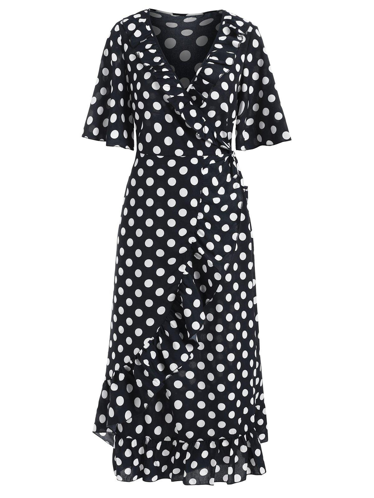 Ruffle Polka Dot Midi Wrap Dress - BLACK XL