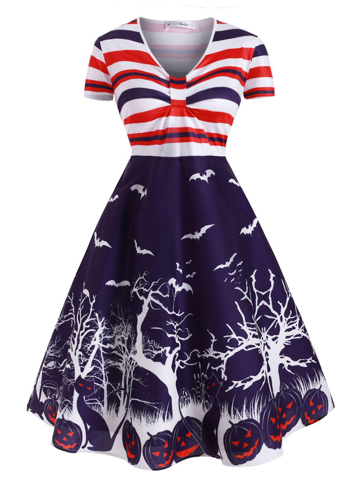Pumpkin Bat Print Stripes Halloween Plus Size Dress