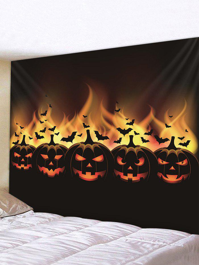 Halloween Pumpkin Bats Printed Pattern Tapestry - multicolor A 150*130CM