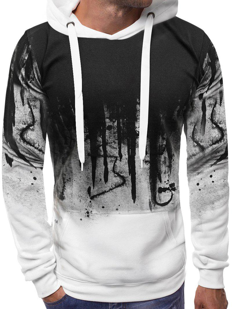 Abstract Gradient Painted Front Pocket Drawstring Hoodie - WHITE XS