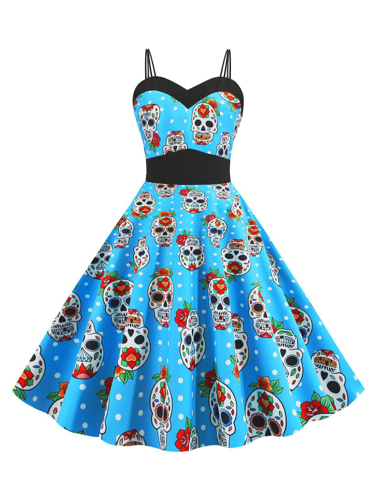 Halloween Dual Strap Skull Pumpkin Spider Ghost Print Dress - multicolor A L