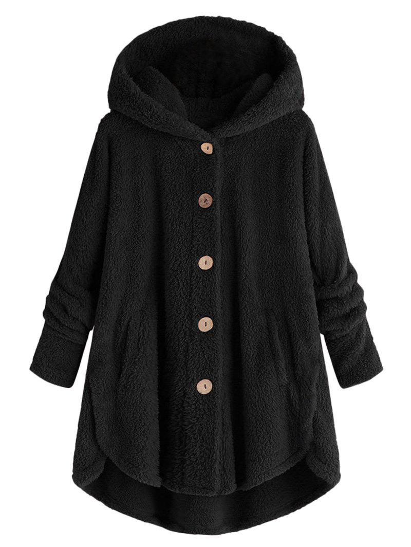 Hooded Fluffy Plus Size High Low Teddy Coat - BLACK 2X