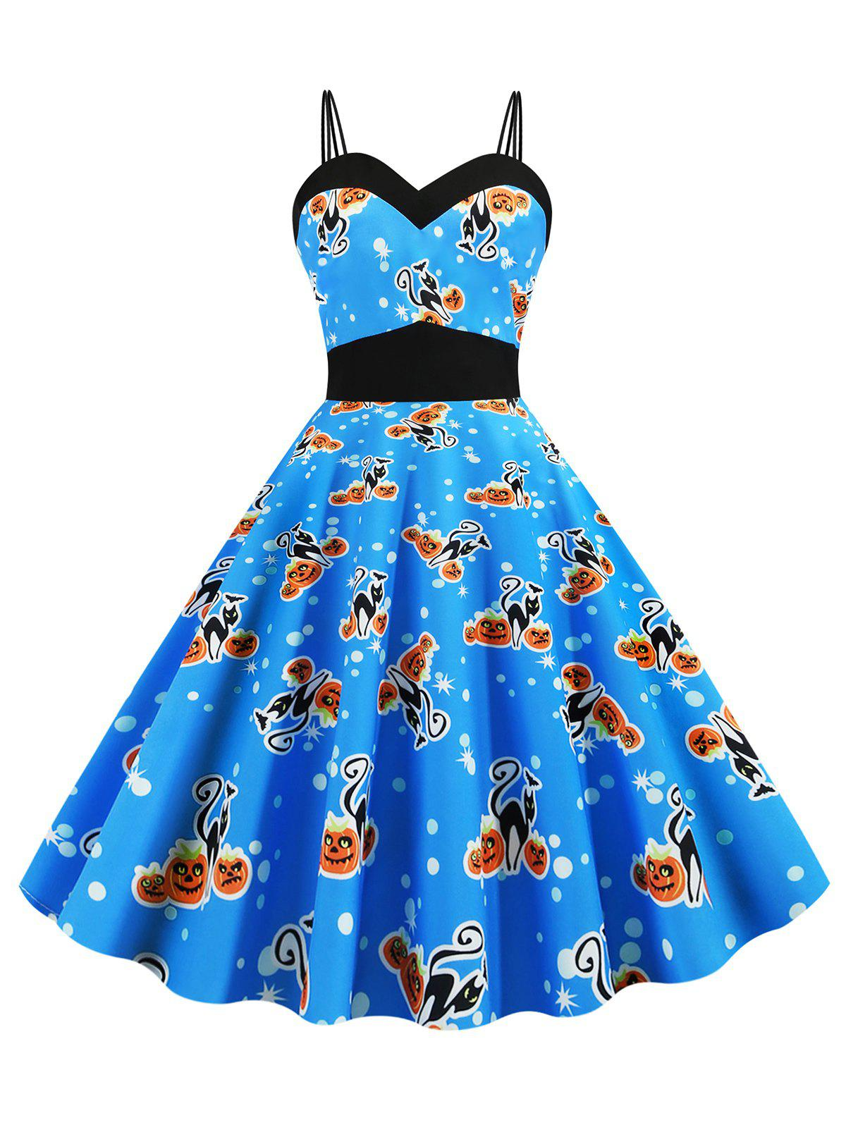 Halloween Dual Strap Cat Pumpkin Print Dress - BLUE M