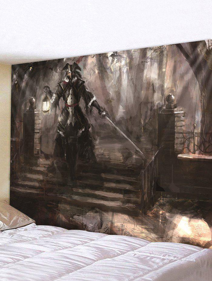 Halloween Risen Warrior Printed Pattern Tapestry - multicolor A 230*180CM