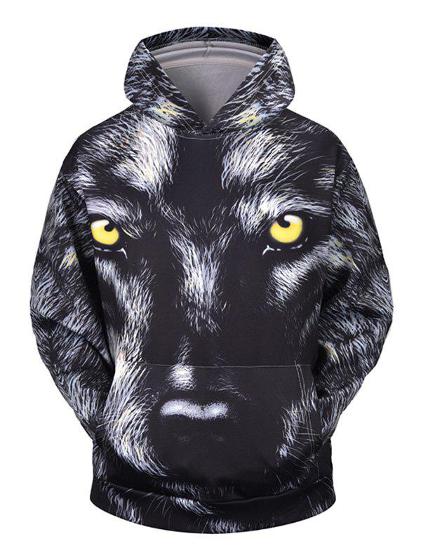 Animal Print Pocket Hoodie - DARK SLATE GREY 2XL