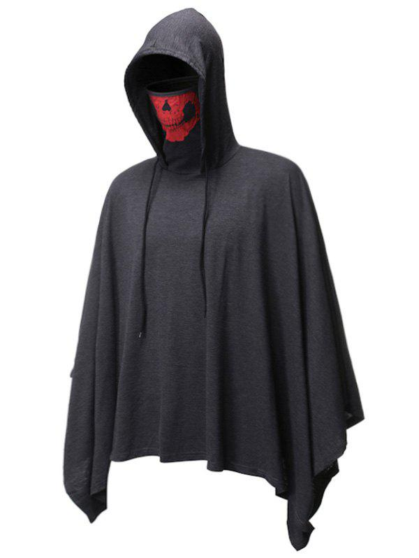 Halloween Skull Mask Pullover Hooded Cloak - DARK GRAY L
