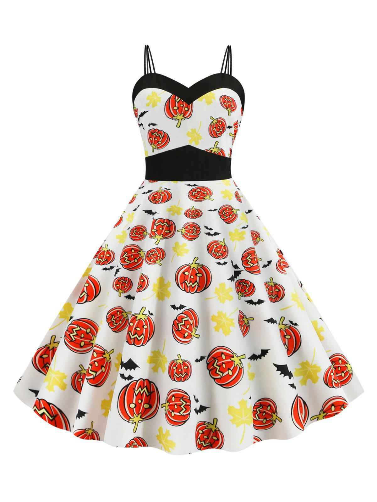 Halloween Pumpkin Bat Maple Leaf Print Dual Strap Dress - multicolor M