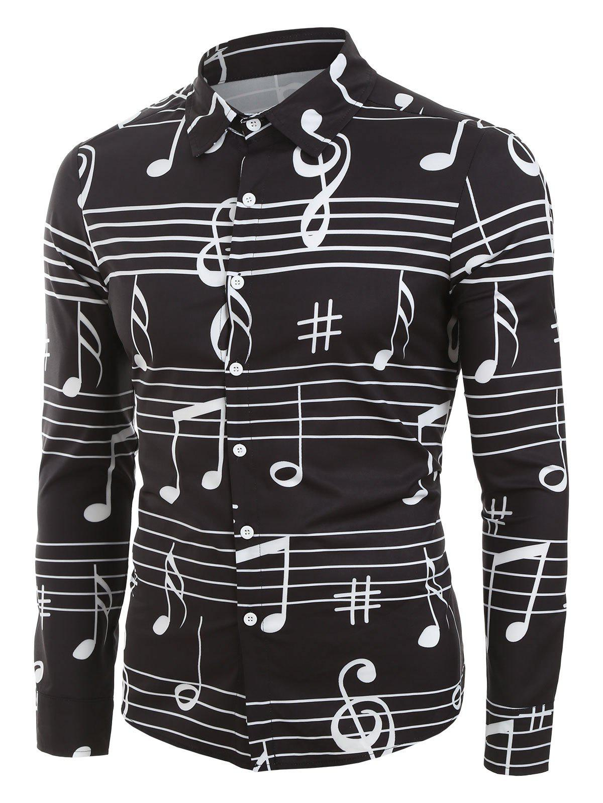 Music Notes Print Long Sleeve Button Up Festival Shirt - BLACK L
