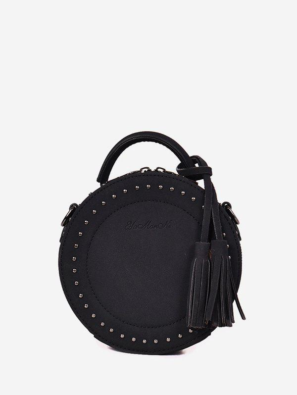 Tassel Stud Retro Shoulder Bag - BLACK