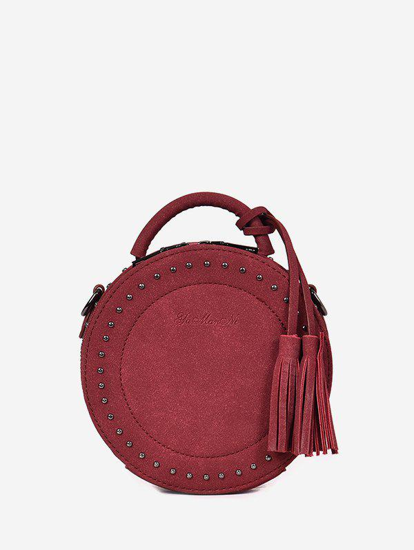 Tassel Stud Retro Shoulder Bag - RED WINE