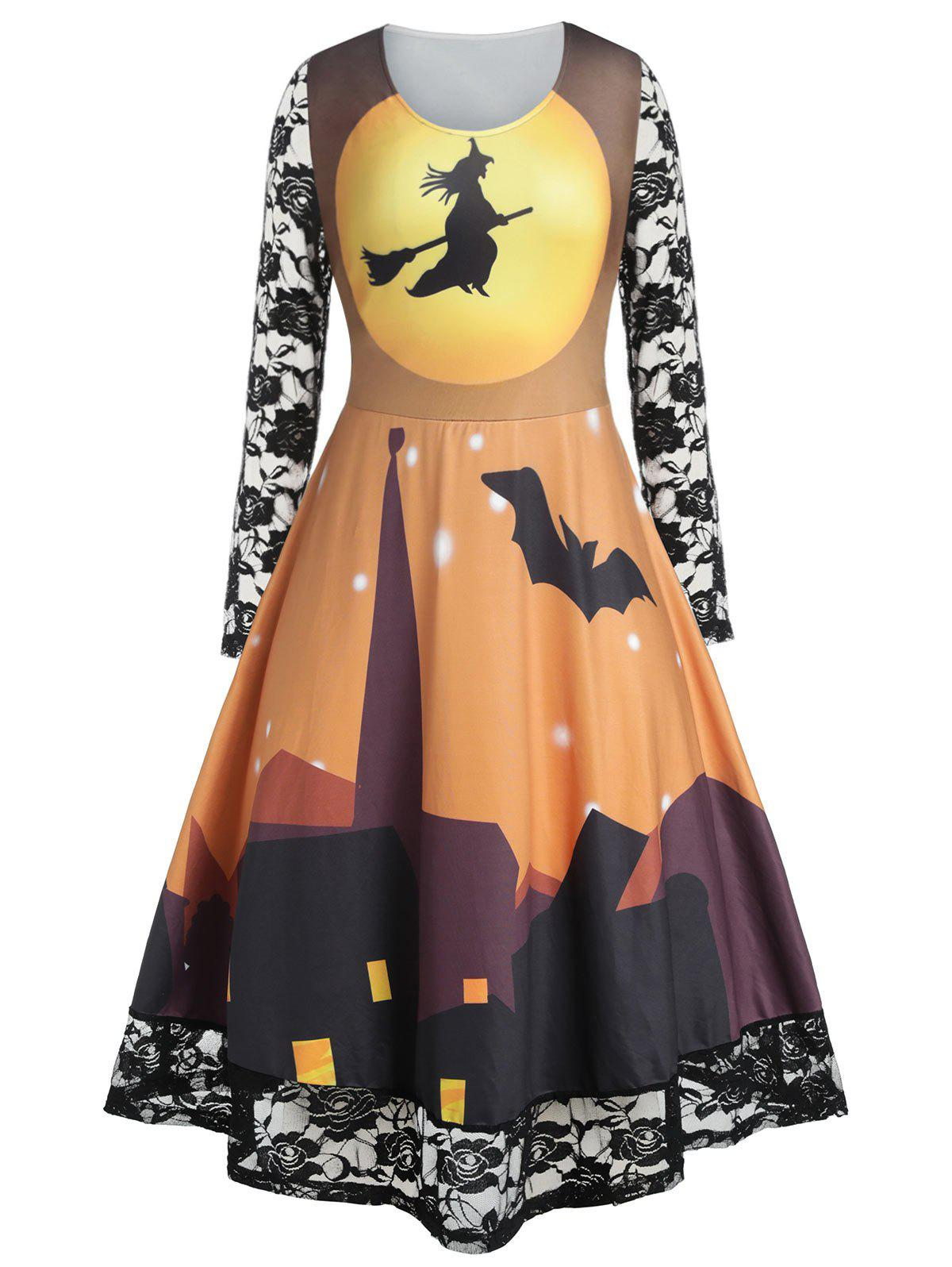 Plus Size Halloween Castle Print Lace Panel Long Sleeve Retro Dress - SUN YELLOW 5X