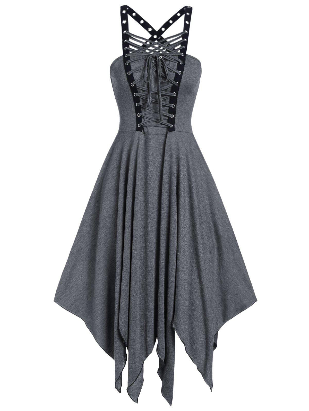 Sleeveless Lace-up Front Grommet Handkerchief Gothic Dress - ASH GRAY 3XL