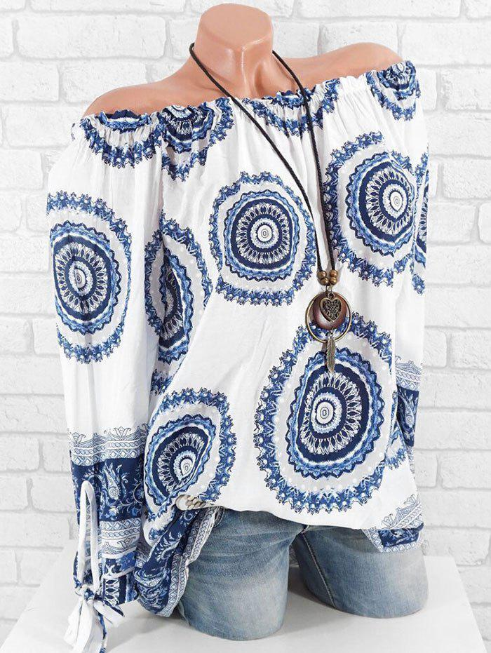 Printed Tie Cuffs Plus Size Off The Shoulder Blouse - SILK BLUE 2X
