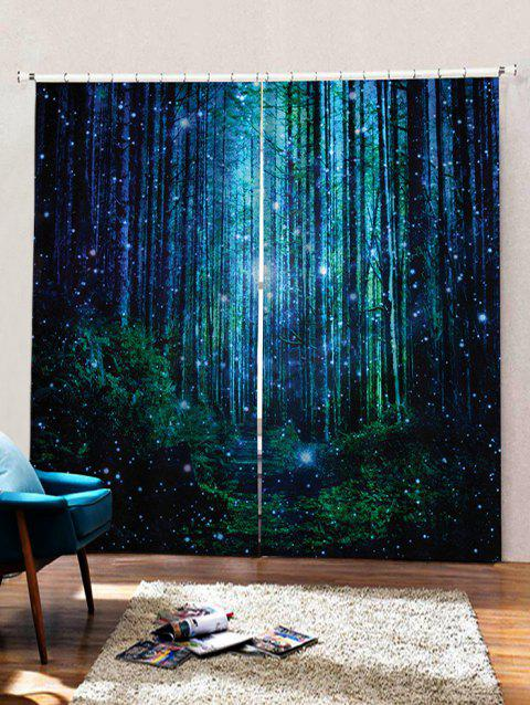 2PCS Fireflies Forest Pattern Window Curtains - multicolor W33.5 X L79 INCH X 2PCS