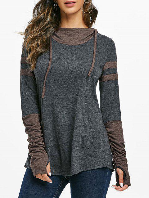 Hooded Kangaroo Pocket Ruched Contrast Heathered T-shirt - COFFEE M