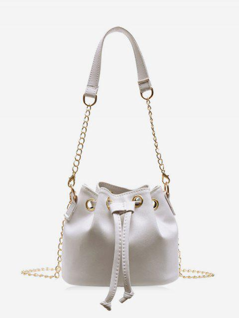 Solid Color PU Leather Drawstring Bucket Bag - MILK WHITE