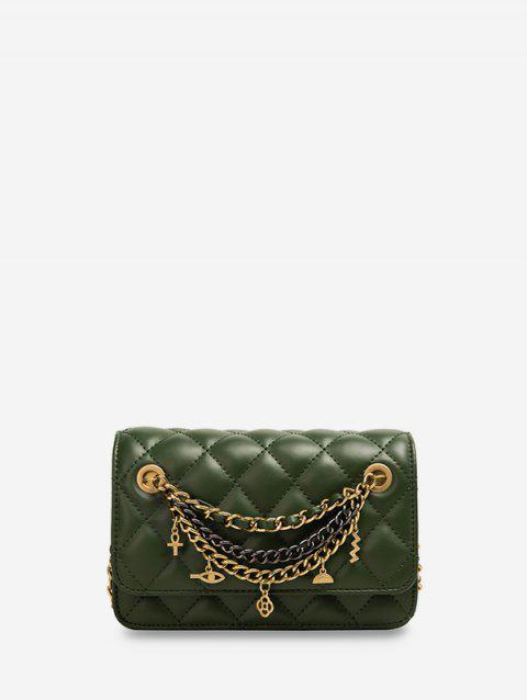 Chain Cross Floral Pendant Quilted Crossbody Bag - SEAWEED GREEN