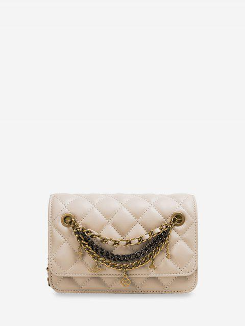 Chain Cross Floral Pendant Quilted Crossbody Bag - WHITE