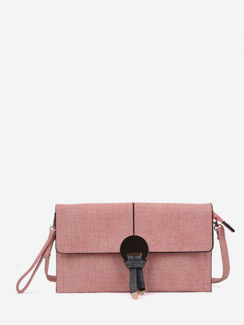 Brief Round Metal Knot Canvas Clutch Bag - PINK