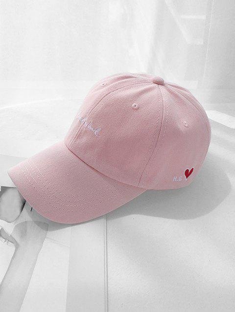 Letter Heart Embroidery Dad Cap - PINK