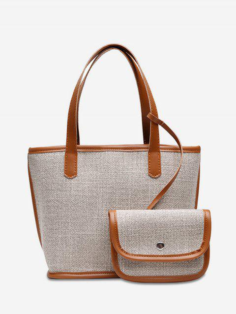 2 Piece Piped Trim Linen Tote Bag - LIGHT BROWN