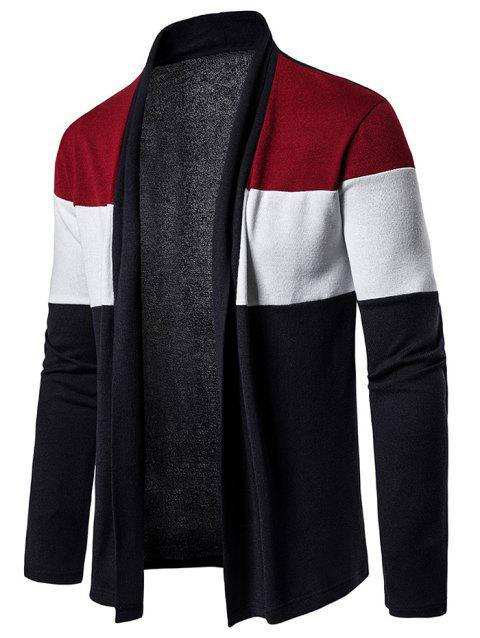 Color Block Open Front Long Sleeve Cardigan - RED S