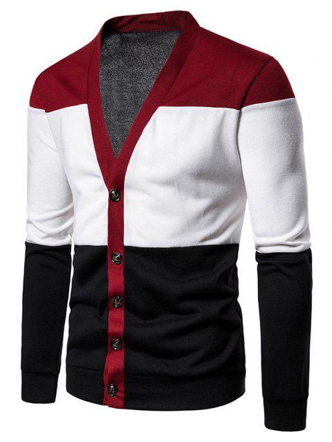 Color Block Button Up Knitted Cardigan - RED S