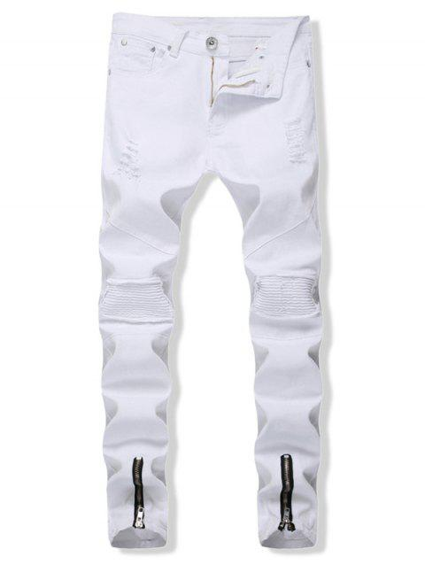 Zipper Distressed Decoration Casual Jeans - WHITE 32
