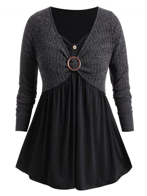 Plus Size O Ring Faux Twinset Marled Knitwear - CARBON GRAY 4X
